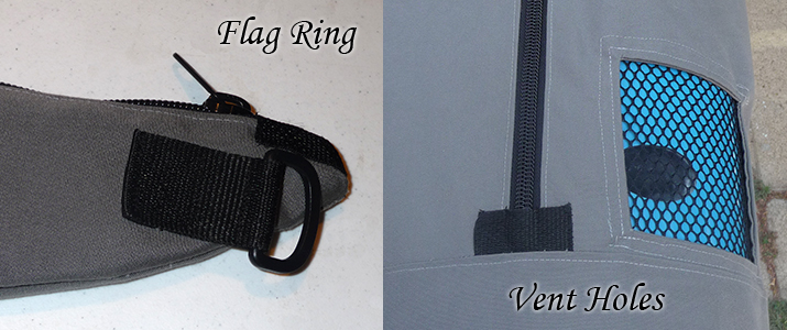 Flag ring for roof-travel safety. Vent holes to help temperatures, moisture and draining.
